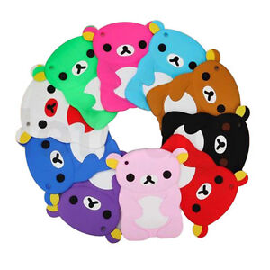 cute silicone 3d bear rubber soft back case cover stand for ipad mini