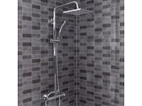 Architeckt Thermostatic Mixer Shower – Round Bar Valve with Square Drench & Adjustable Heads