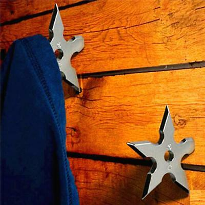 Creative Ninja Shuriken Throwing Death Star Coat Hook Wall Hanger Organizer LD
