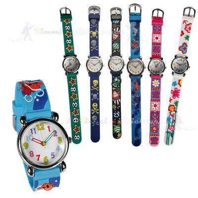 Kinder Armbanduhr mit 3D Motiven Silkonarmband Uhr Kinder Jungen & Mädchen NEU
