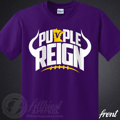 - PURPLE REIGN T-Shirt Vikings Skol Chant Kings Minnesota Football Fan Jersey