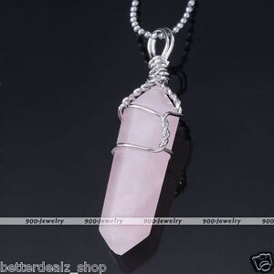 Natural Rose Crystal Quartz Pendant Healing Point Chakra Beads Stone Necklace