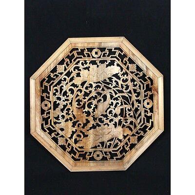 """Chinesisches Fenster """"Feng Shui Glücksbringer - Koi Karpfen"""" - Wandbild aus Holz"""