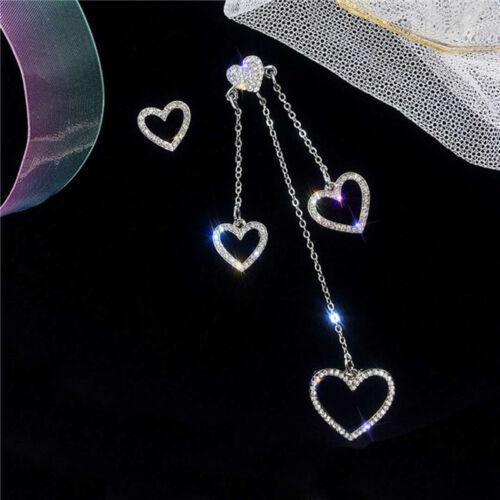 Drop Earrings Goldtone Women Dangle Heart Mismatched Piercin