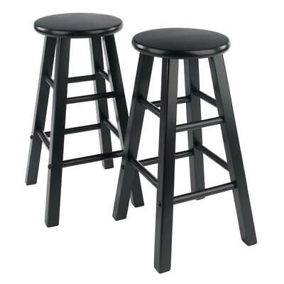 Wooden Set of 2 Bar Stools Kitchen Dining Room Saddle Seat Pub Chair 24-Inch NEW