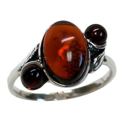 DELIGHTFUL NATURAL BALTIC AMBER 925 STERLING SILVER RING SIZE - Natural Amber Ring