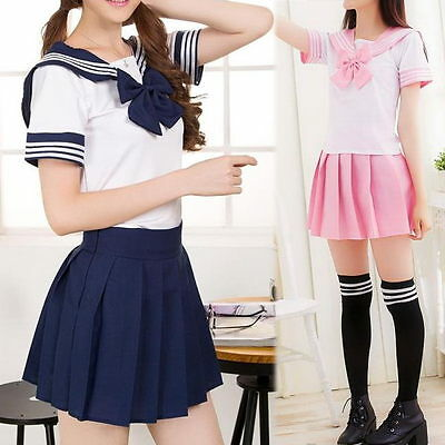 Girls Japanese Student Adult School Uniform Dress Anime Cosplay Sailor Costume*1