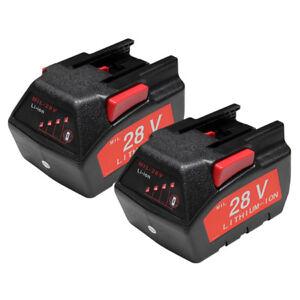 TWO BATTERIES For MILWAUKEE 28V M28 V28 Power Tool 48-11-2830 2.0Ah  BATTERY X2