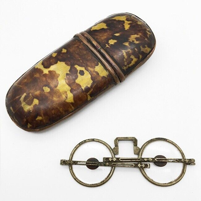 Rare Faux Tortoise Shell Antique Spectacles Case Chinese Antique Eyeglasses