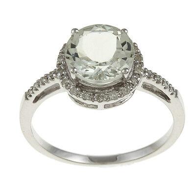 10k Weissgold Runde Grün Amethyst und Diamant Ring (1/8 Tdw ) ()