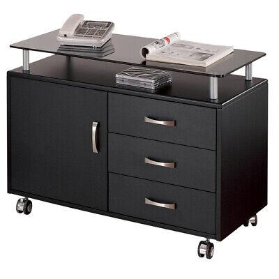 Techni Mobili Wide Glass Top 3-drawer Rolling Storage Cabinet - Graphite