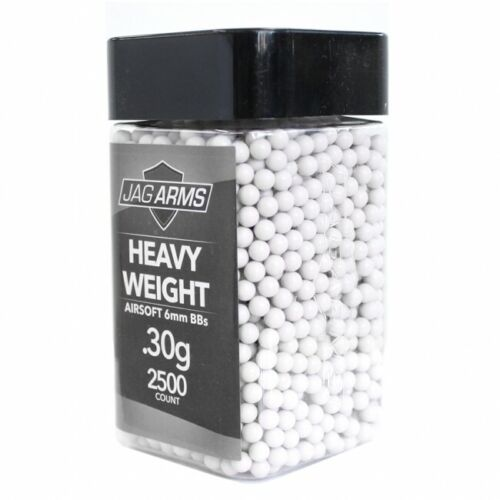 JAG Arms 2500rd Heavy Weight Seamless Double Polished .30g 6mm Airsoft BBs White