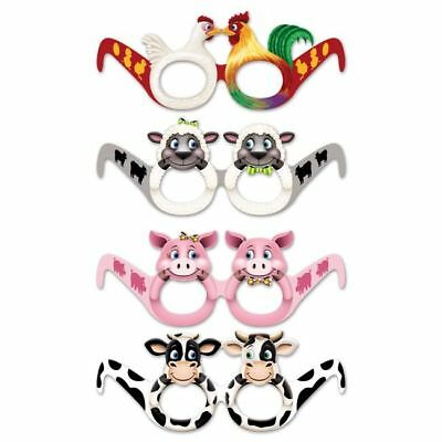 Farm Animal Eyeglasses 12 Pack Farm Birthday Party Favors