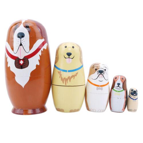 Handmade Matryoshka Traditional Wood Animal Brown Dog 5 Layers Drawing Doll Shan