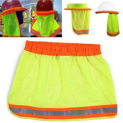 Safety Hard Hat Yellow Neck Shield Helmet Sun Shade Reflective Stripe New - S