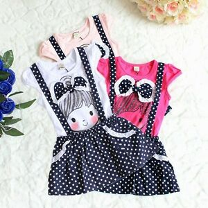 Baby-Girls-Kids-Princess-Polka-Dot-Bowknot-One-piece-Party-Dress-Skirt-XIAO