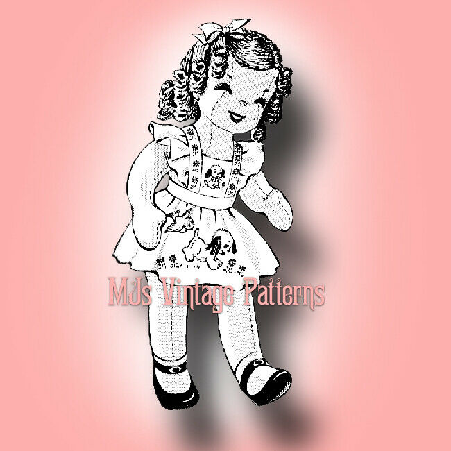 Shirley Temple Cloth Doll Vintage Pattern ~ Embroidered Puppy Pinafore