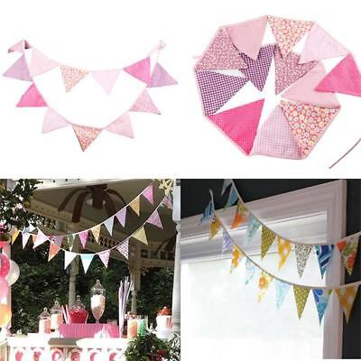 Colorful Triangle Fabric Flag Pennant String Banner Party Holiday Decor DD - Fabric Pennant Banner