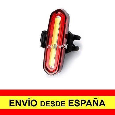 Luz Roja Trasera Bicicleta Carga USB Faro Potente 120 Lúmenes 4 Modos...