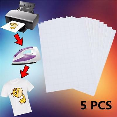 5pcsset T Shirt A4 Transfer Paper Iron On Heat Press Light Fabrics Inkjet Paper