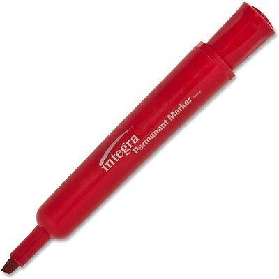 Integra Permanent Chisel Marker Chisel Marker Point Style Red Ink 12 Dozen 33328