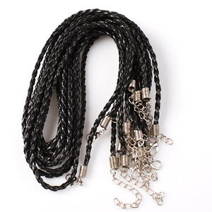 50pcs-130013-Wholesale-New-Black-Leather-Braided-Necklace-Cord-Findings-46cm