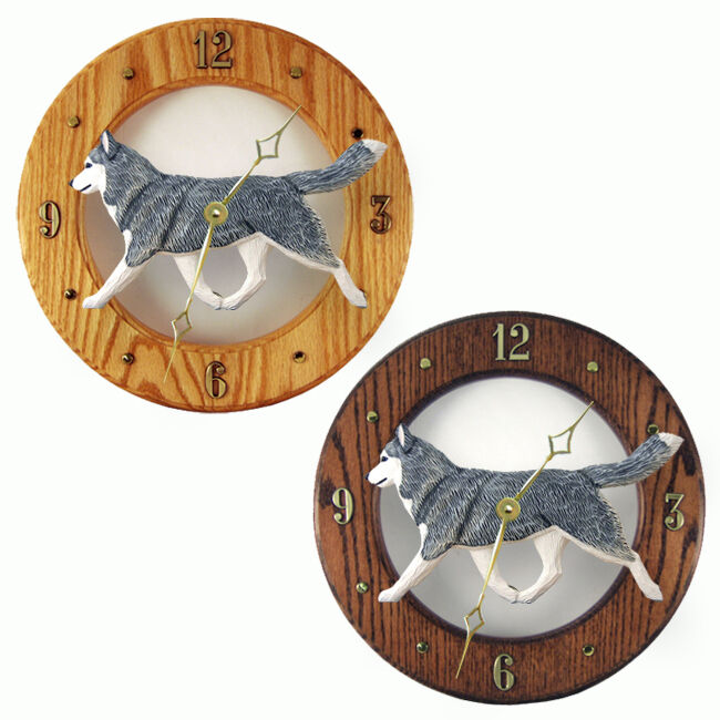 Husky Wood Clock Gray/White