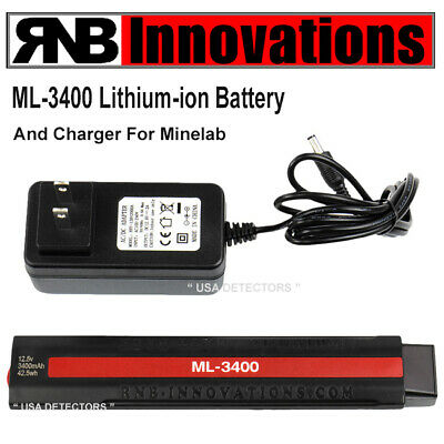 RnB Innovations ML-3400 Lithium Ion Battery + Charger For Minelab FBS Detectors