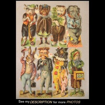 Antique German Paper Die Cut Litho 8 Individual Animals in Costume Uncut Sheet - Animal In Costumes