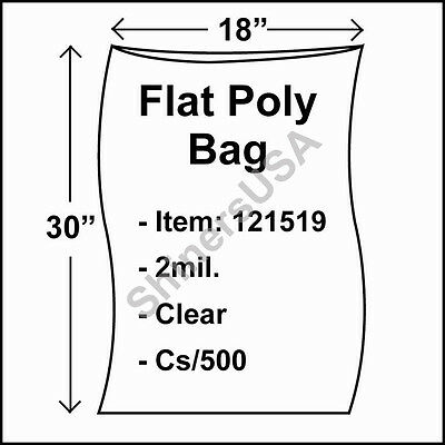 500 2-Mil 18x30 Clear Poly Bag Open Top Lay Flat Packaging 121519