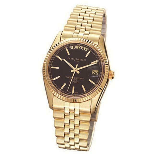 Charles-Hubert- Paris Mens Gold-Plated Quartz Watch #3400-OB