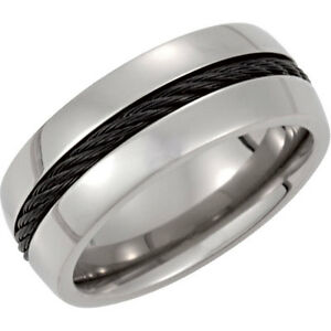 6 mm wide Titanium Ring with Black Cable