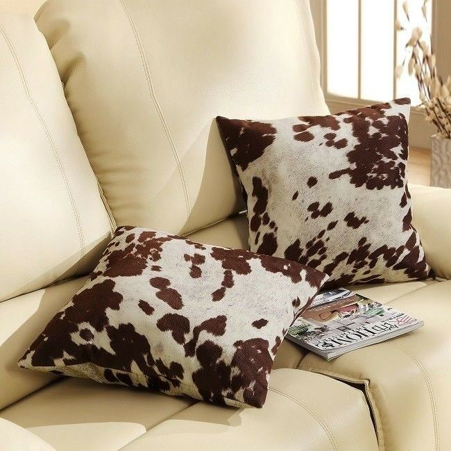 Throw Pillows for Couch Set of 2 Faux Cowhide Print Western Accent Decor