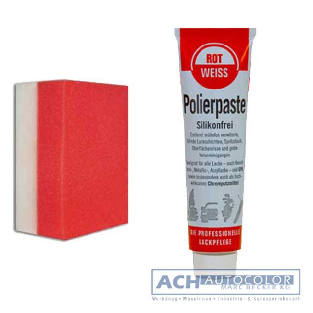 Rot Weiss Polierpaste Kunstharz ROTWEISS + Profi Schwamm NEU! Für PKW`s