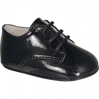 Used, NWT Baby Deer Black Patent Dress Oxford Crib Shoes Boys Newborn Size 0 Classic for sale  Shipping to Canada