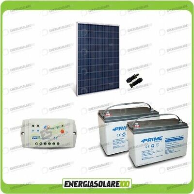 Kit fotovoltaico Panel solar 280W 24V Batería AGM 100Ah regulador PWM 10A...
