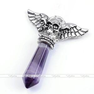 Skull with Wings Amethyst Crystal Pendant + Box Chain
