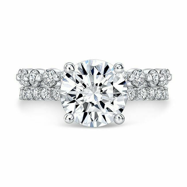 1.90tcw Natural Round Cut Pave Set with Mismatched Single Prong Band - GIA