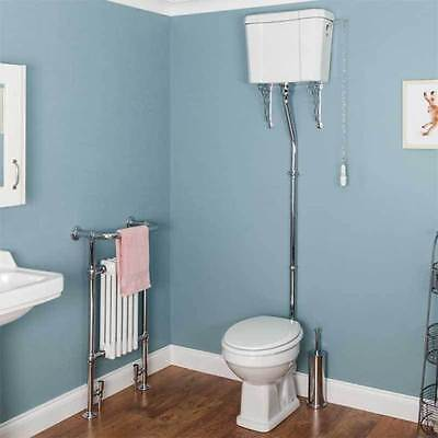 Traditional Bathroom Toilet Pan Cistern High Level Gloss White WC Ceramic Flush