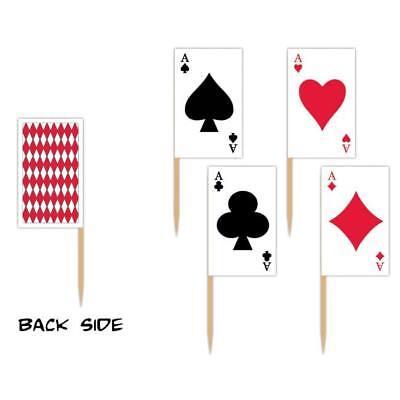 Playing Card Picks 50 Pack Casino Vegas Gambling Party Cupcake Topper Decoration