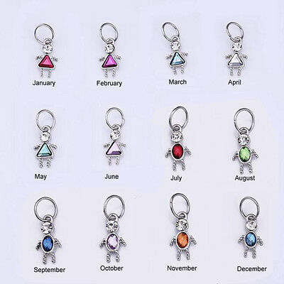 Birthstone Boy / Girl Shaped Charm, FINE Silver Plated, TWO SIZES! 3.99 & 4.99  ()