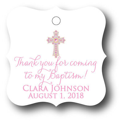 24 Thank you for coming to my Baptism! Personalized Favor Tag - Pink Girl - Thank You Tags
