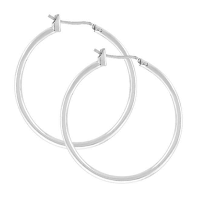 Kate Bissett E01619X-V00 Silvertone Hoop Earrings