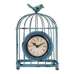 MZ Berger HOC444 8.5 in. Aqua Bird Cage Metal Table Clock