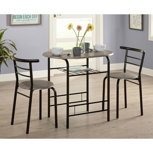 Bistro Table Set 3 Piece Dining For 2 Furniture Chair Kitchen Small Space  Indoor