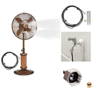 US Summer Portable Outdoor Patio Garden Fan Spray Cooling Misting System 5M