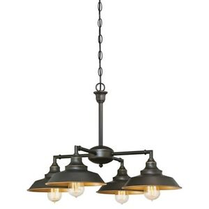 Modern Farmhouse Chandelier Light Bronze Pendant Lamp Rustic Ceiling Fixture