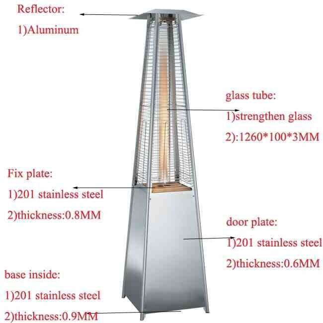 Quartz Glass Flame Tube Patio Heater Stainless Steel 227cm Tall 13 Kw  Stylish.