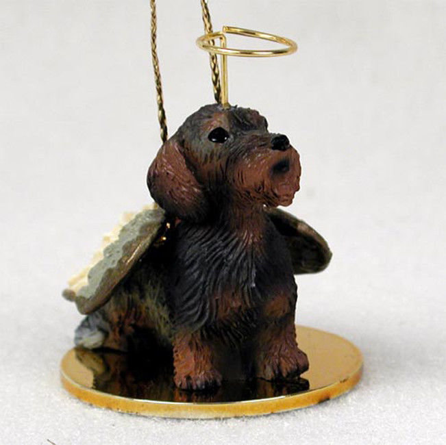 Dachshund Ornament Angel Figurine Hand Painted Wirehaired