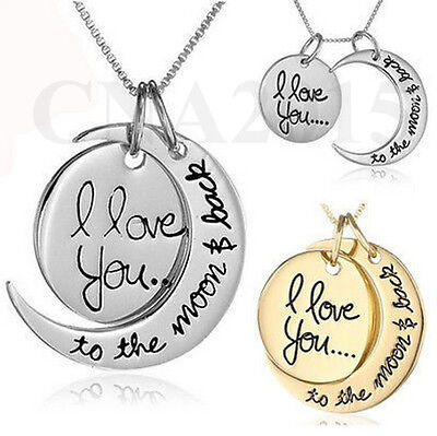 I Love You To The Moon And Back 20  Necklace Pendant Chain Alloy Gold Silver